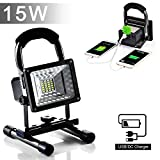 [15W 24LED] Rechargeable Work Lights, Lanfu Outdoors Camping Emergency Lights with SOS Mode, Portable Floodlights with Built-in Lithium Batteries and 2 USB Ports to Charge Digital Devices (Black)