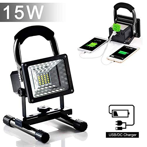 [15W 24LED] Rechargeable Work Lights, Lanfu Outdoors Camping Emergency Lights with SOS Mode, Portable Floodlights with Built-in Lithium Batteries and 2 USB Ports to Charge Digital Devices (Black) by JINCAN (Image #8)