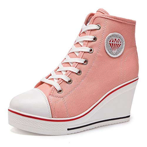 A-LING Women's Sneaker High-Heeled Fashion Canvas Shoes High Pump Lace UP Wedges Shoes (Pink 3-5 M US)
