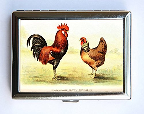 Rooster Leghorn (Rooster Leghorns Cigarette Case Wallet Business Card Holder id case chickens)