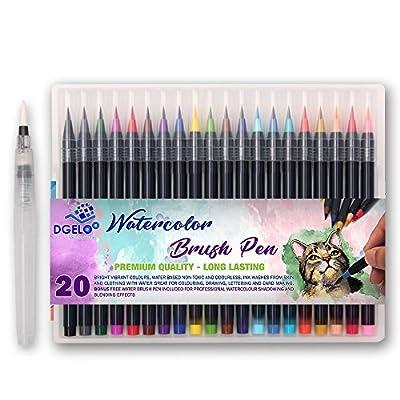 20 Premium Watercolor Soft Brush Pens plus BONUS Watercolor Pen included - Flexible Tip Painting Brush, Water Coloring Marker Pens for Children Adult Coloring Books, Manga, Comic, Calligraphy