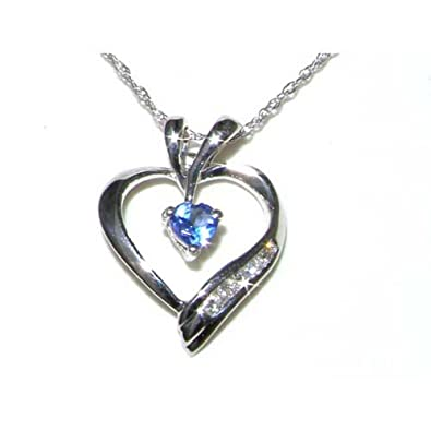 9ct white gold heart tanzanite diamond pendant 18 chain 9ct white gold heart tanzanite diamond pendant 18quot aloadofball Images