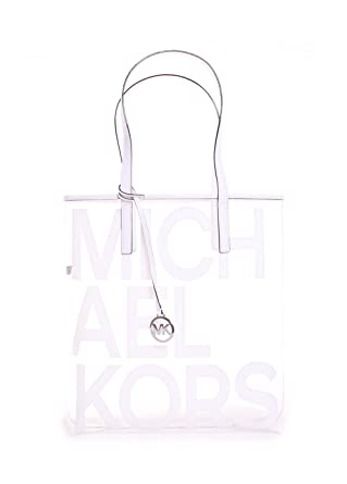 3581ff6199695e Michael Michael Kors Hayley Clear Large North South Tote Bag in Optic White