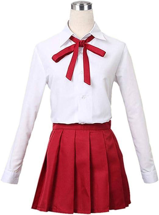 YKJ Traje de Cosplay de Anime Camisa Blanca Falda Corta roja ...