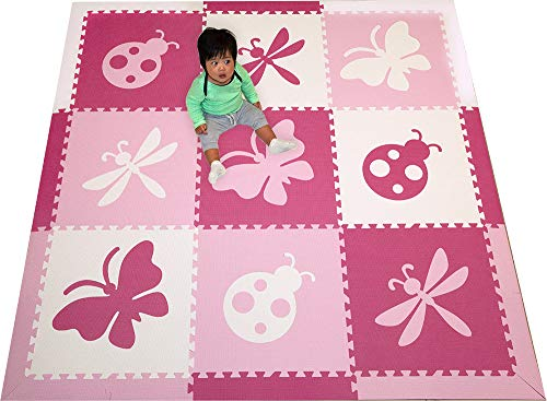 SoftTiles Foam Play Mats- Pretty Bug Theme- Butterfly, Ladybug, Dragonfly Interlocking Playmat Tiles with Sloped Borders for Baby Nursery- Kids Playroom 6.5 x 6.5 ft. (Pink, White, Light Pink) SCBUPWC