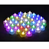 Instapark LCL-C48 Battery-powered Flameless Color-changing LED Tealight Candles, Four Dozen Pack