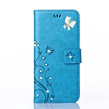 iPhone SE/5S/5 4inch Elegant Wallet Case, Apple iPhone SE Beautiful Case, Luxury 3D Fashion Handmade Bling Crystal Rhinestone Butterfly Fashion Floral Blue PU Flip Stand Credit Card ID Holders Wallet Leather Case Cover(bling blue)