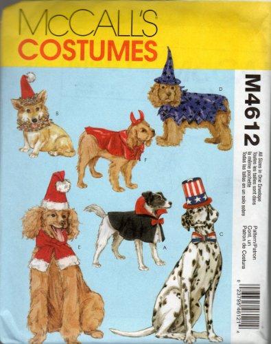 Mccall's Dog Costume & Hats Pattern 4612. sz XS;S;M;L Witch;Devil;Dracula;Santa;Patriotic ()