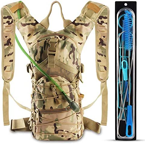 AnoKe Hydration Pack, Water Backpack with 3 L Water Bladder Day Pack Perfect for Hiking, Running, Cycling, Climbing, Hunting, and Outdoor Activities, Included 4 in 1 Bladder Cleaning Kit-Camouflage