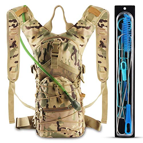 (AnoKe Hydration Pack, Water Backpack with 3 L Water Bladder Day Pack Perfect for Hiking, Running, Cycling, Climbing, Hunting, and Outdoor Activities, Included 4 in 1 Bladder Cleaning Kit-Camouflage)