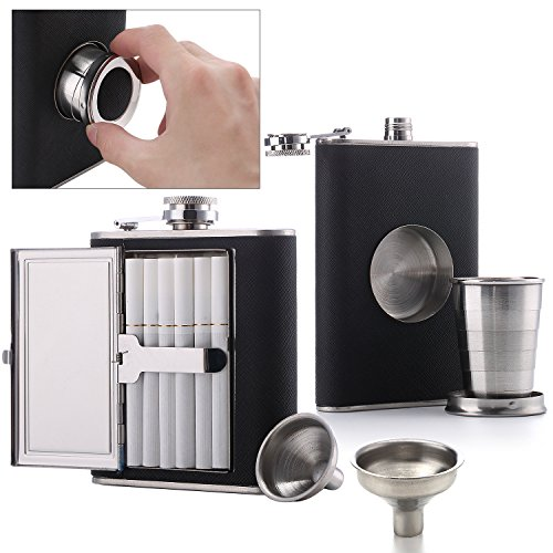 Flask Cigarette Holder - Flask Set [2018 Gift for Men] - Cigarette Flask (1) + Shot Glass Flask (1) + Funnel (2) (Cigarettes Not Included)
