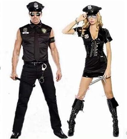 XSQR Hombres Y Mujeres Uniforme De Policia Uniforme De Pareja Traje De rol,003: Amazon.es: Deportes y aire libre
