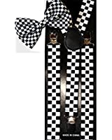 Unisex Fashion Matching Bow Tie and Suspender Set - Black & White Checkerboard Design