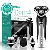 VOYOR Electric Shaver for Men Rotary Razors Beard Trimmer Rechargeable Nose Hair Trimmer Sideburn Mustache Trimmers 4 in 1 Hair Removal Set With Face Brush Cordless & IPX6 Waterproof TX410