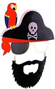 Sunstaches Pirate Beard Sunglasses, Skull & Crossbones, Parrot, Instant Costume, Party Favors, UV400