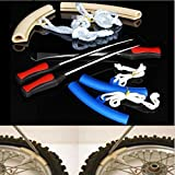 Three Spoon Motorcycle Tire Levers Irons Changing Tool Kit with Case (Blue)