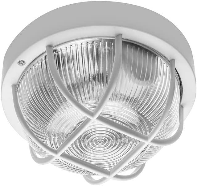 para interiores y exteriores montaje en superficie L/ámpara de techo redonda de cristal blanco con jaula E27 CGC patio resistente a la intemperie garaje jard/ín porche cuarto de ba/ño IP44