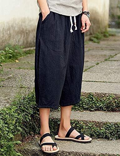 Men's Loose Wide Leg Pants Solid Color Casual Baggy Breathable Cotton Harem Pants
