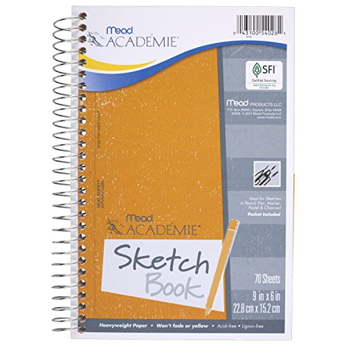 - Mead Académie Spiral Sketchbook / Sketch Pad, Heavyweight Paper, 70 Sheets, 9 x 6 Inch Sheet Size (54028)
