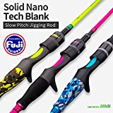 """7. GOOFISH Solid Nano Blank Slow Pitch Jigging Rod Light Shore Jigging Rod Slow Action Pitch Rod Pe 2-4 1.98m(6'6"""") (Green(PE2-4) 1 Piece & Casting & Left Spiral Guide Model, 6'6"""")"""