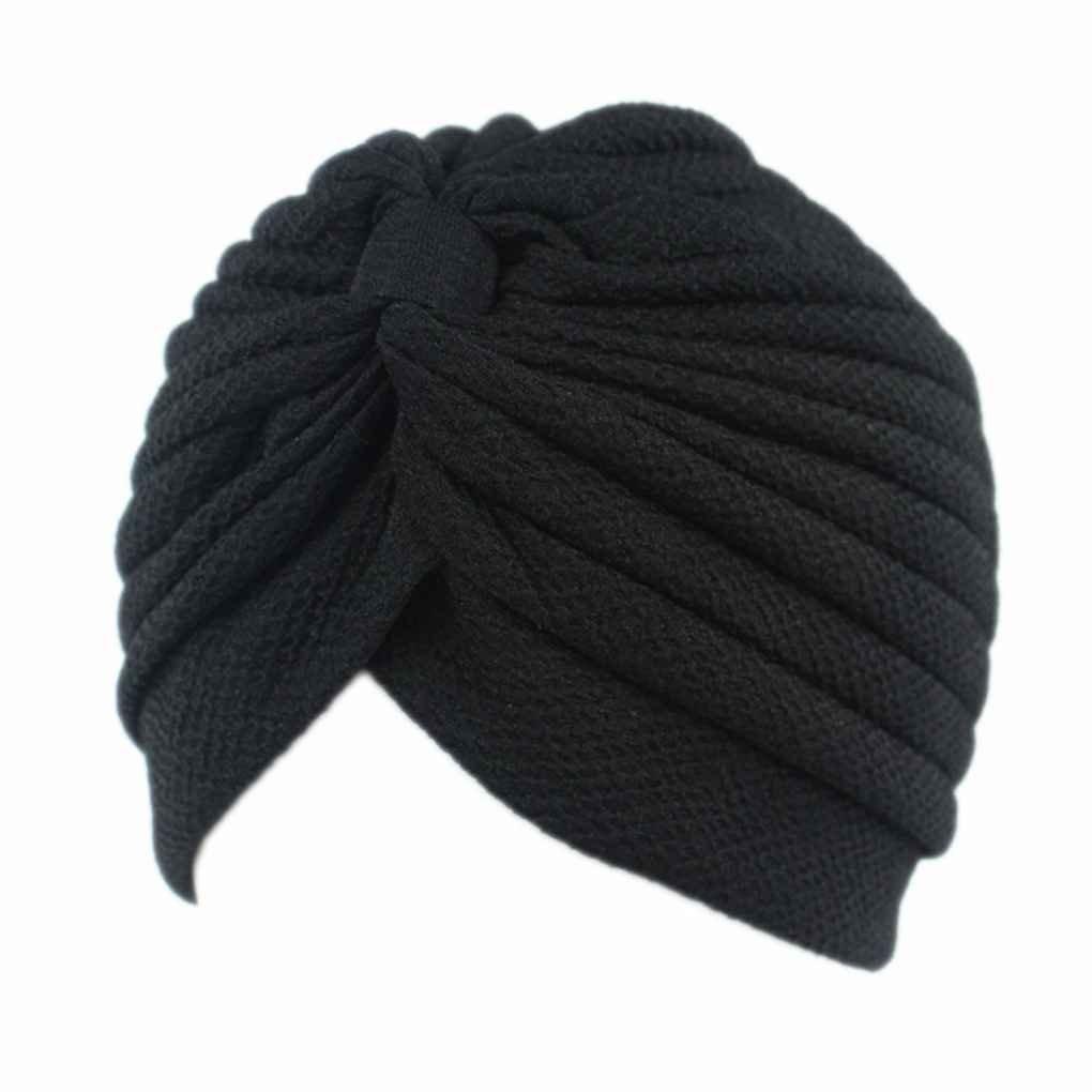 Lorjoy de las Mujeres Colmena Plisada Chemo Knit Cap Atado Turbante musulm/án Bufanda Principal Sombrero Turbante