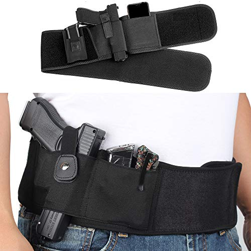 BOTUX Belly Band Holster for Concealed Carry,Breathable Neoprene Waist Gun Holster with Mag Pouch,Fits Ruger LCP, Kahr, Beretta, Glock 19, 17,P238 etc,for Men and Women- Right Handed