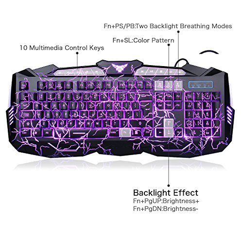 08d30fba218 BlueFinger Backlit Gaming Keyboard Mouse Combo with LED Gaming Headset  Over-Ear Headphone 40mm Speaker Driver + Gaming Mouse Mat ...