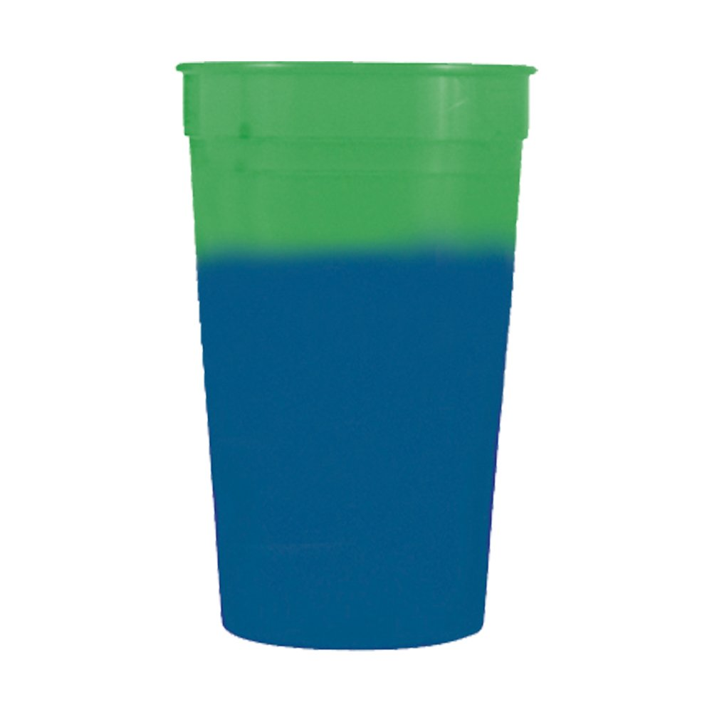 17oz Color Changing Stadium Cup, Set of 12, Green to Blue
