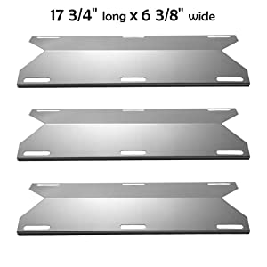 YIHAM KS745 BBQ Heat Shields for Jenn-air Grill Parts, Grill Heat Tent Heat Plate Replacement, Burner Cover for Nexgrill, Glen Canyon Gas Grills, 17 3/4 inch x 6 3/8 inch, Stainless Steel, Set of 3