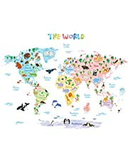DECOWALL DAT-1615S Animal World Map Kids Wall Stickers Wall Decals Peel and Stick Removable Wall Stickers for Kids Nursery Bedroom Living Room (Large)