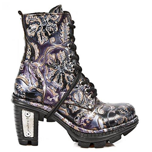 Nuovi Stivali Di Roccia M.neotr006-c7 Gotico Hardrock Punk Damen Stiefelette Lila