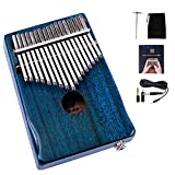 Walter.D Mahogany Tone Wood Kalimba, Professional 17 Keys Acoustic Finger Thumb Piano Music Gift (Blue-EQ)
