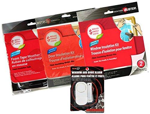 Indoor Window Alarm & Door Insulation Bundle - Foam Tape, Window Treatment, Alert Alarm