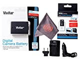 Vivitar LP-E10 Ultra High Capacity Rechargeable 1100mAh Li-ion Battery + AC/DC Vivitar Rapid Travel Charger + Microfiber Lens Cleaning Cloth LPE10 (Canon LP-E10 Replacement)