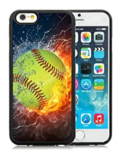 Softball Fire and Ice 1 Black Best Buy Customized Design iPhone 6 4.7 Inch Silicone TPU Case