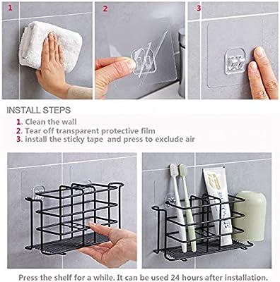 White Bamyko Toothbrush Holder Toothpaste Holder Wall Mounted Stainless Steel Bathroom Storage Organizer