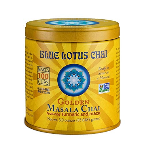 Blue Lotus Chai - Golden Masala Chai - Makes 100 Cups - 3 Ounce Masala Spiced Chai Powder with Organic Spices - Instant Indian Tea No Steeping - No Gluten