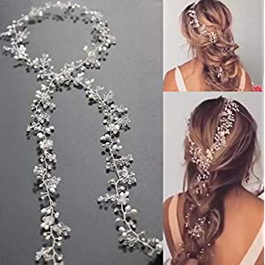 Missgrace Bridal Silver Gold and Rose Gold Hair Vine Extra Large Bridal Headpiece Wedding Hair Accessories Wedding Hair Vine Long Bridal Headpiece Wedding Hair Piece 100cm/ 39.4in 101