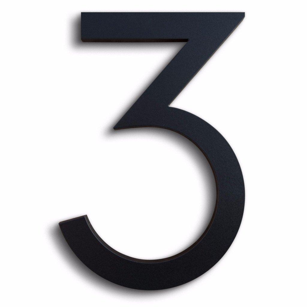 Modern House Number Black Color Aluminum Modern Font Number Three''3'' 6 inch