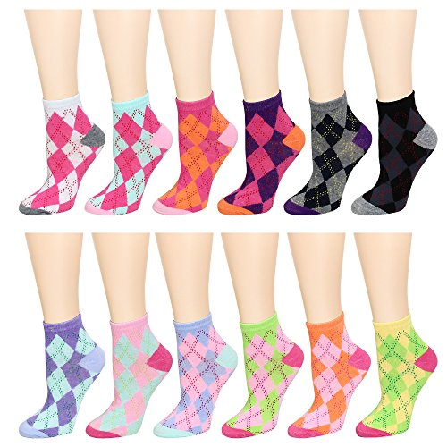 - 12 Pairs Women's Socks Assorted Colors Size 9-11 (Argyle)
