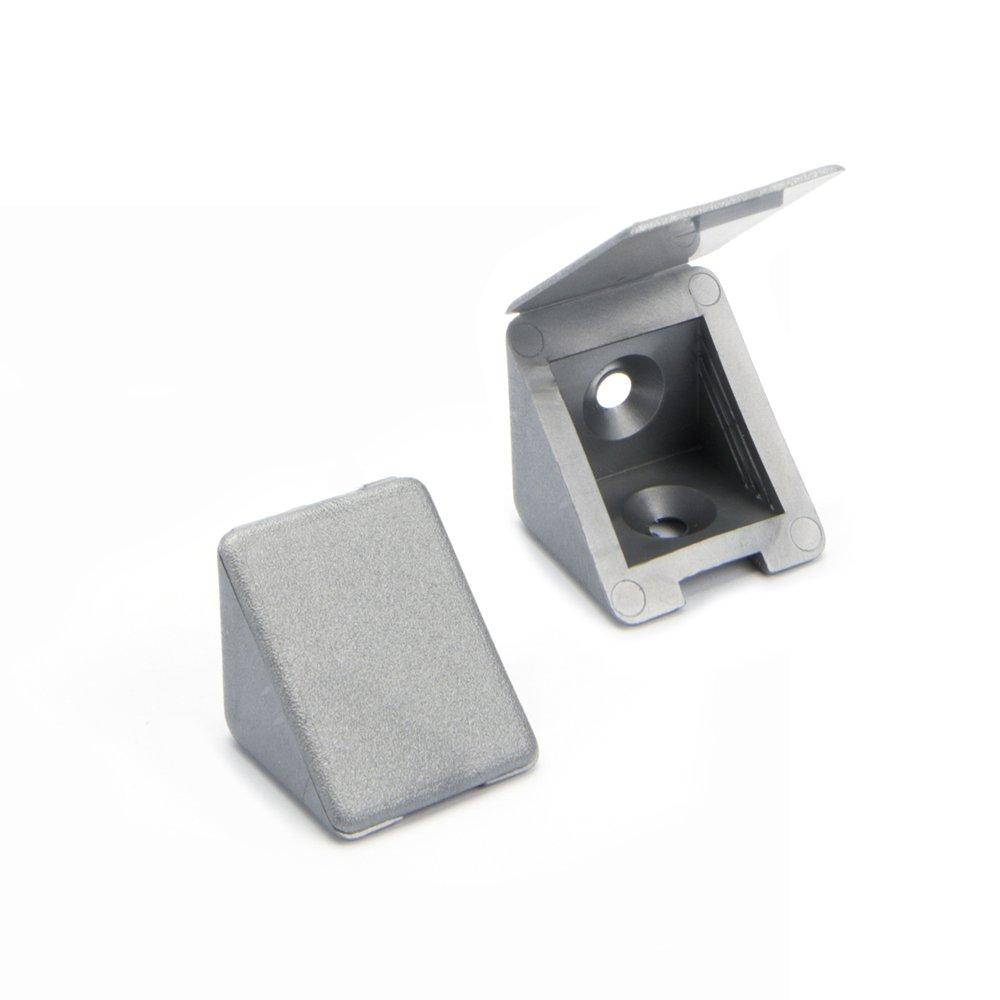 100 x Conector de muebles/conector angular con tapa | Sossai BT1, 2 agujeros | Color: plata | Material: plá stico 2 agujeros | Color: plata | Material: plástico