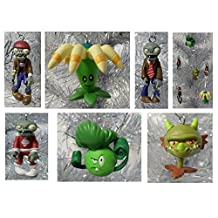 "Plants vs Zombies 6 Piece Holiday Christmas Tree Ornament Set Featuring Snapdragon, Zombie, bloomerang, Future Zombie, Bonkchoy and Pirate Zombie - Shatterproof Ornaments Range from 1.5"" to 2.5"" Tall - Perfect for Mini Kids Tree or Desk Office Tree"