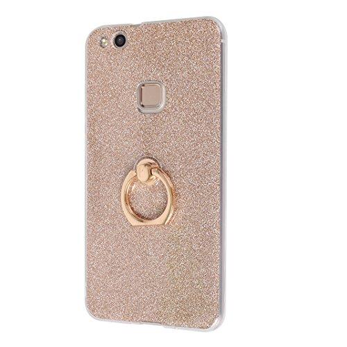 Huawei P10 Lite Funda con Anillo, Huawei P10 Lite Carcasa, Moon mood® Suave TPU + Papel Brillo Hybrid 2 en 1 con 360 Rotación Anillo Soporte Función Bling Glitter Sparkle Silicona Trasero Caso Cubiert Dorado