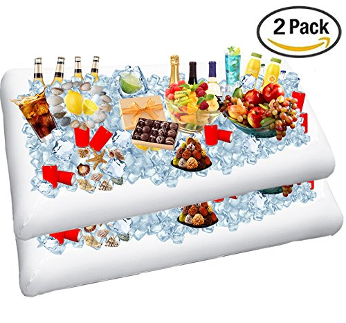 2 Pack Inflatable Salad Bar Buffet Ice Cooler Beverage Serving Bar Food Drink Holder for Party Picnic BBQ Luau with Drain Plug by Wisewife]()