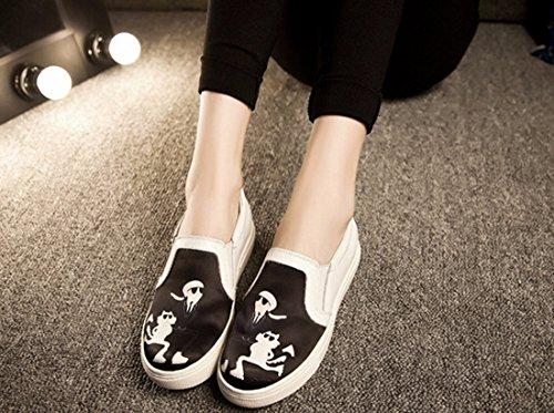 Fruehling / Herbst Frauen flache 3D Druck Beleg auf Schuhe Plateauschuhe Sneaker Faulenzer Black cat