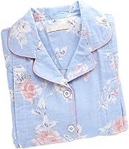 Panda Superstore [Blue Rose] Cotton Maternity Pajamas Set Nightwear Breastfeeding Pajamas