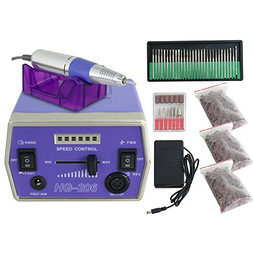 - Pro Nail Drill Machine 30000RPM Electric File Grinder Tool Bits Set Acrylic Gel Nail Manicure Predicure Equipment (purple)