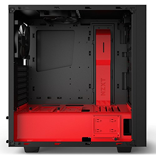 Price comparison product image NZXT S340 Elite ATX Mid Tower Computer Case,  Matte Black / Red (CA-S340W-B4)