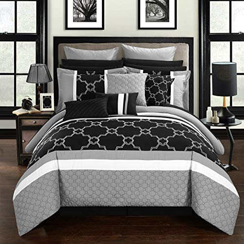 Chic Home Camilia 16 Piece Comforter Set, King, Black, (Pin Tuck Bedding)
