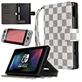 LION FISH Nintendo Switch Case with Tempered Glass Screen Protector,Nintendo Switch Case with Stand,Premium PU Leather Wallet Flip Case Travel Cover with Card Holder for Nintendo Switch 2017. (White)